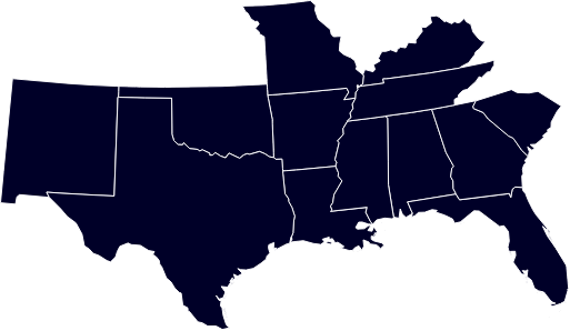 Dark Blue Map of the South United States