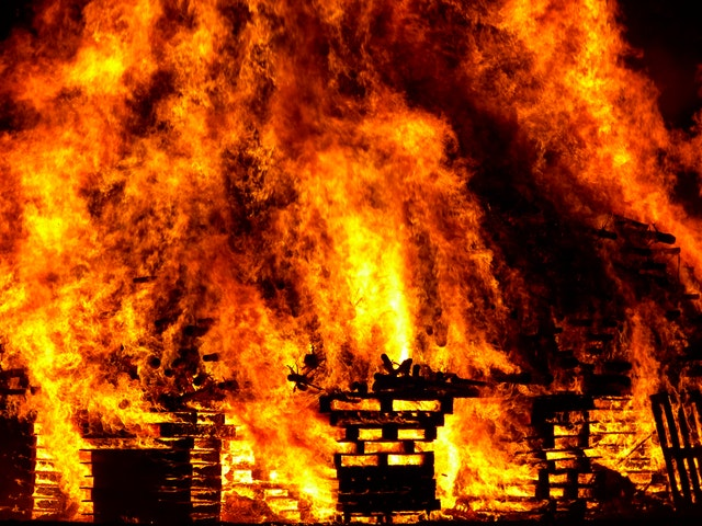 Wooden Pallets on fire