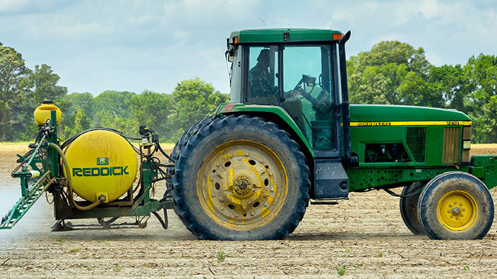 Viw of a Green Tractor